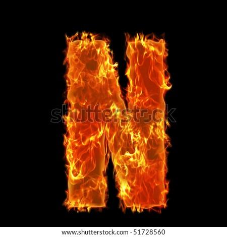 Burning Alphabet Letter N - stock photo