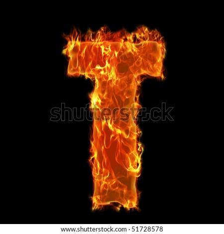 Burning Alphabet Letter T - stock photo