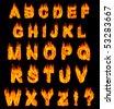Burning alphabet letters illustration isolated on black background - stock photo