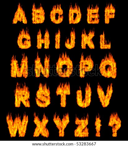 Burning alphabet letters illustration isolated on black background - stock photo