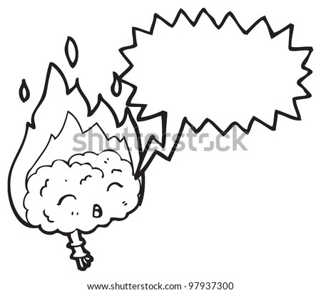 burning brain cartoon character - stock photo