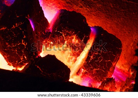 Burning brown coal - close up
