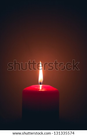 burning candle fire with copy-space - stock photo