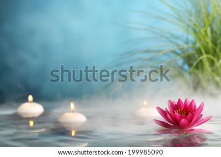 Burning candles and water lily in a serenity pool - stock photo