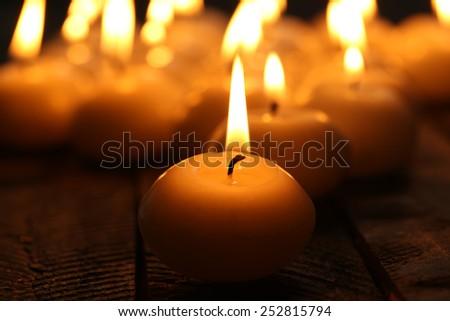 Burning candles close-up - stock photo