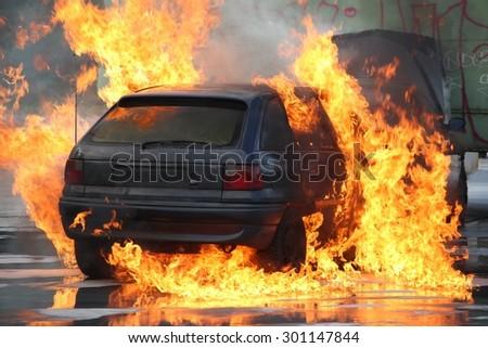 burning car - stock photo