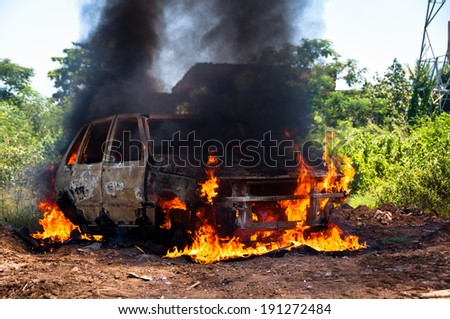 Burning Car in the Field