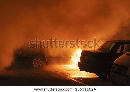 Burning cars - stock photo