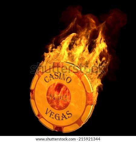 burning casino chip - stock photo