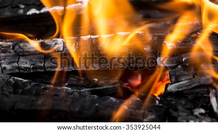 burning charcoal as background - stock photo