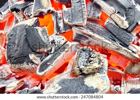 Burning Charcoal Background  or Texture - stock photo