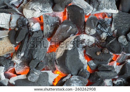 Burning charcoal grill - stock photo