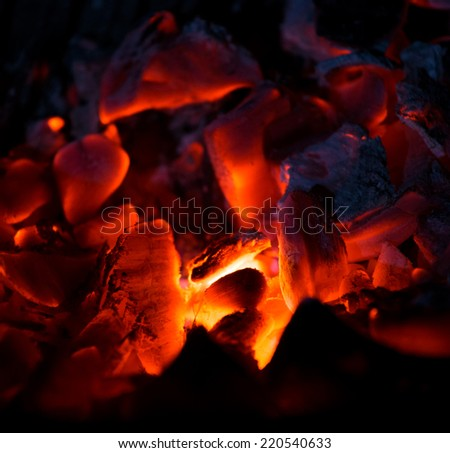 Burning charcoal in the dark, outdoors