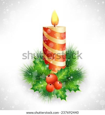 Burning Christmas candle with holly sprigs and pine branches in snowfall on grayscale background - stock photo