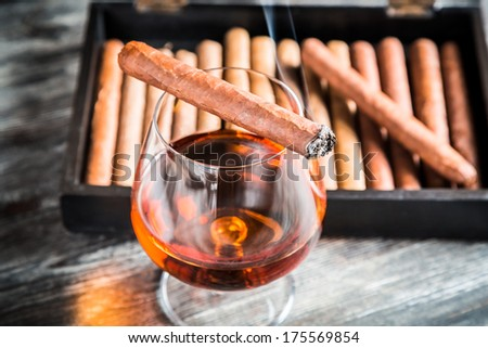 Burning cigar on glass with cognac - stock photo