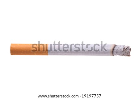 Burning cigarette isolated against white background - stock photo