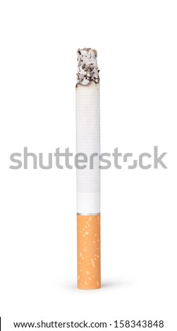 Burning cigarette on a white background