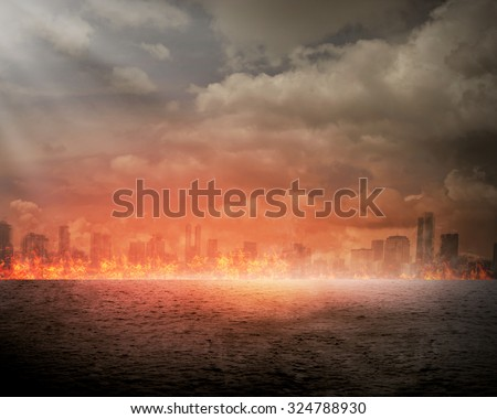 Burning city. Disaster concept. You can put your design on the city - stock photo