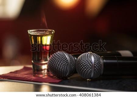 burning drink shot - stock photo