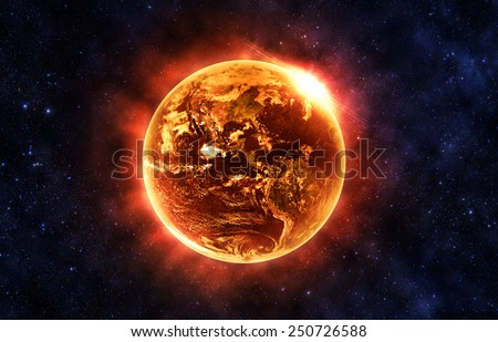 Burning Earth - Elements of this Image Furnished By NASA - stock photo