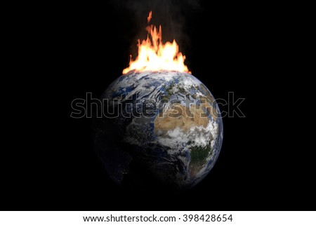 Burning Earth.  Elements of this image furnished by NASA - stock photo