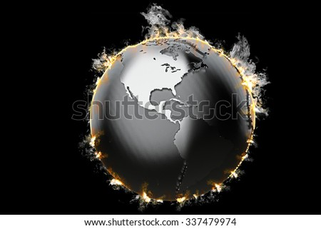 Burning Earth globe. 3d illustration. - stock photo