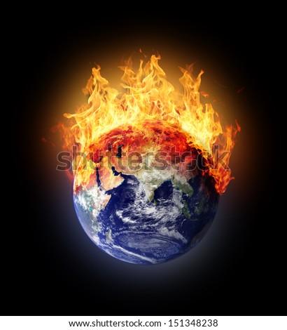Burning earth globe east hemisphere (with gloving) (elements furnished by NASA) - stock photo