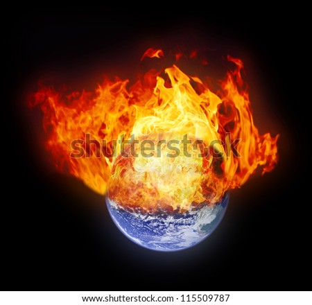 Burning earth globe (with gloving) (elements furnished by NASA)