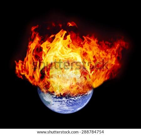 Burning earth globe (without gloving) (elements furnished by NASA) - stock photo