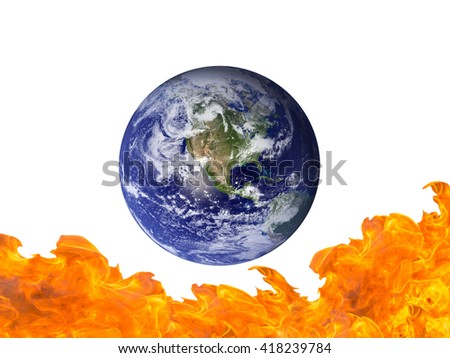 Burning Earth isolate on white background - Elements of this image furnished by NASA - stock photo