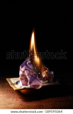 Burning European bank note in ashtray on dark background - stock photo