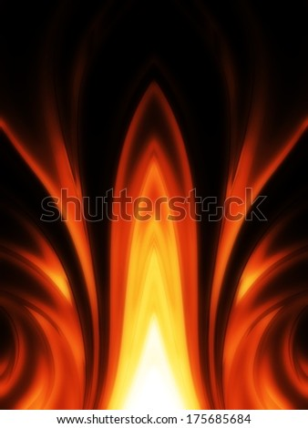 Burning fire and flames in black background, digital art. You can see more fire and flame on my page - stock photo