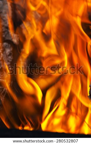 Burning fire close-up, may be used as background