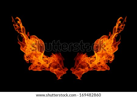 Burning fire collection isolated on black background - stock photo