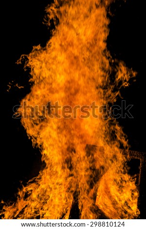Burning fire flame. Bright and beautiful flame during the combustion of the resin - stock photo