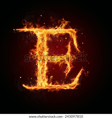 Burning fire letter isolated on black background - stock photo