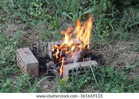 Burning fire wood in a brazier for preparation of coals for a barbecue