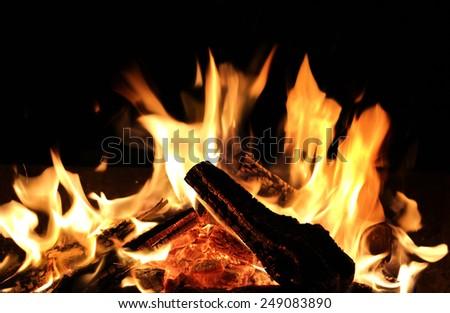 Burning firewood close-up - stock photo