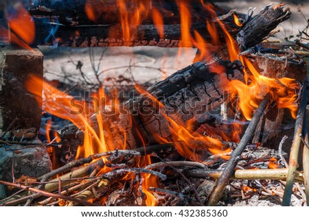 burning firewood with selective focus on the front of the log