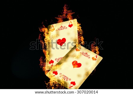 Burning Game Card - stock photo