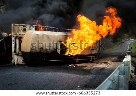 Image result for burning overturned truck