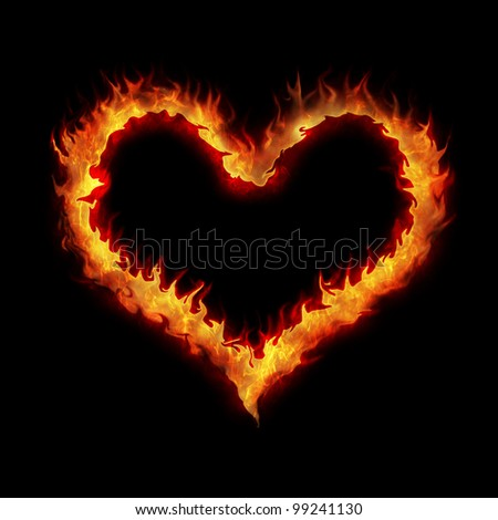 burning heart abstract illustration background on black - stock photo
