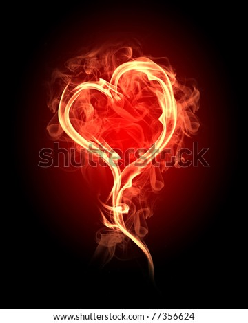 burning heart with flames against dark background