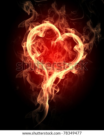 burning heart with flames against dark background - stock photo