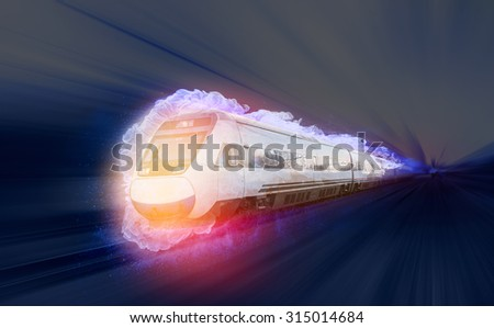 Burning high speed train or high speed train in flames - stock photo