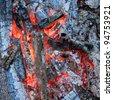 Burning hot ember - stock photo