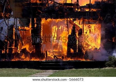 Burning House - stock photo