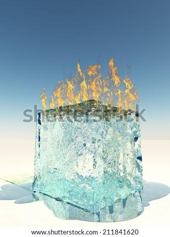 Burning Ice Cube - stock photo