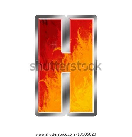 Burning letters alphabet H - stock photo