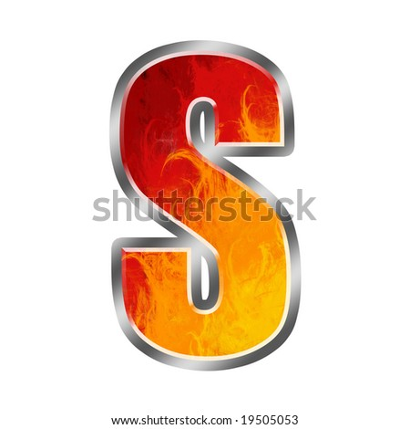 Burning letters alphabet S - stock photo